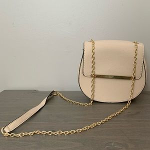 Nude Crossbody Bag with Gold Strap